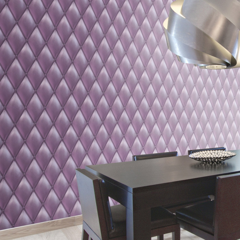 Papier peint intiss capiton froisse violet leroy merlin for Papier peint mauve pour chambre adulte