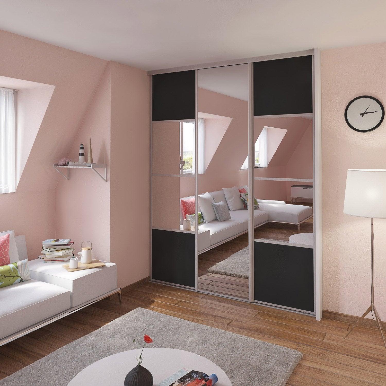 Porte de placard coulissante gris graphite miroir spaceo - Coller miroir sur porte de placard coulissante ...