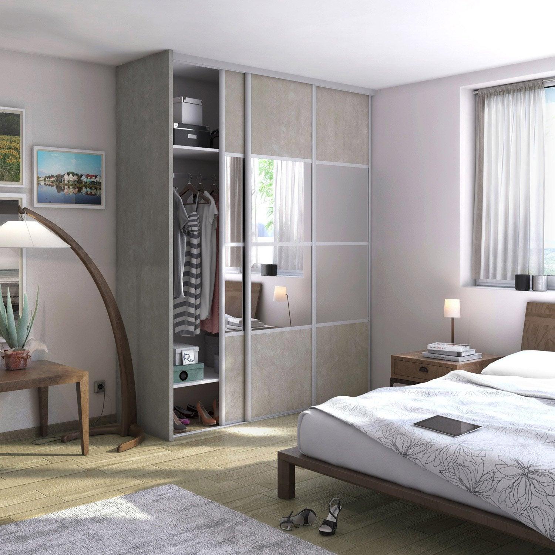 Porte de placard coulissante effet b ton miroir spaceo l for Miroir mural pour chambre