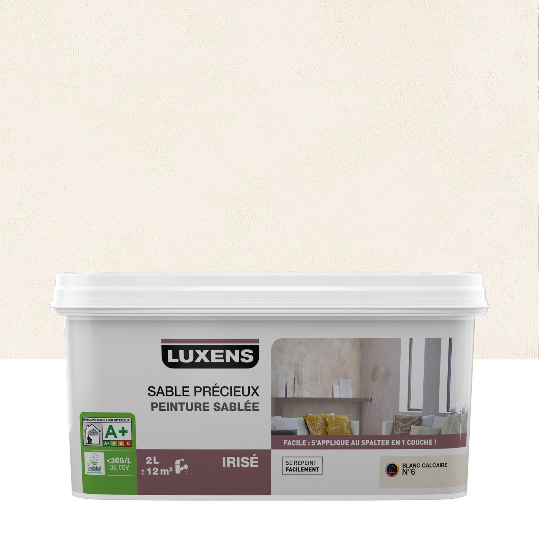 peinture effet sable pr cieux luxens blanc calcaire 6 2 l leroy merlin. Black Bedroom Furniture Sets. Home Design Ideas