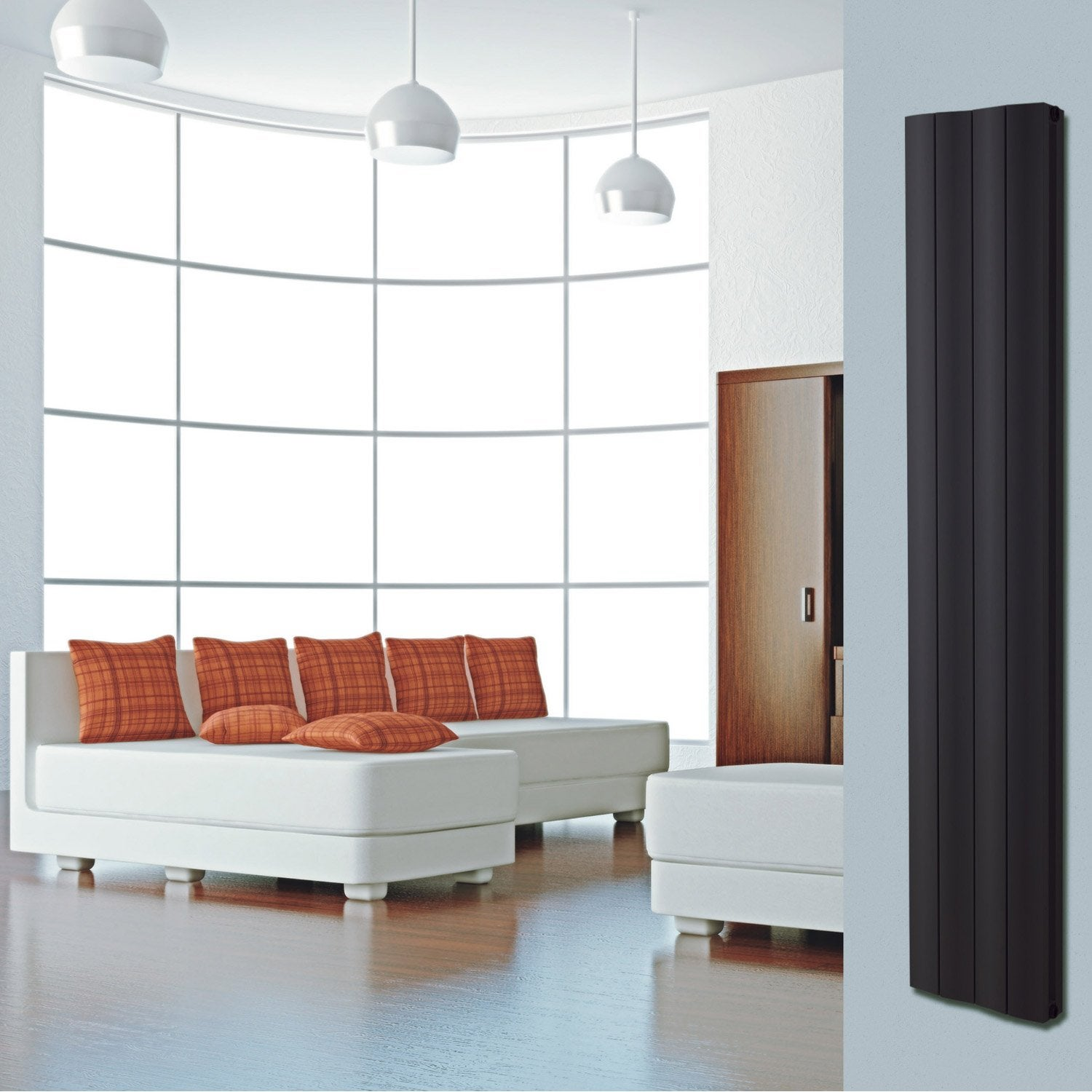 radiateur chauffage central double face noir sabl. Black Bedroom Furniture Sets. Home Design Ideas