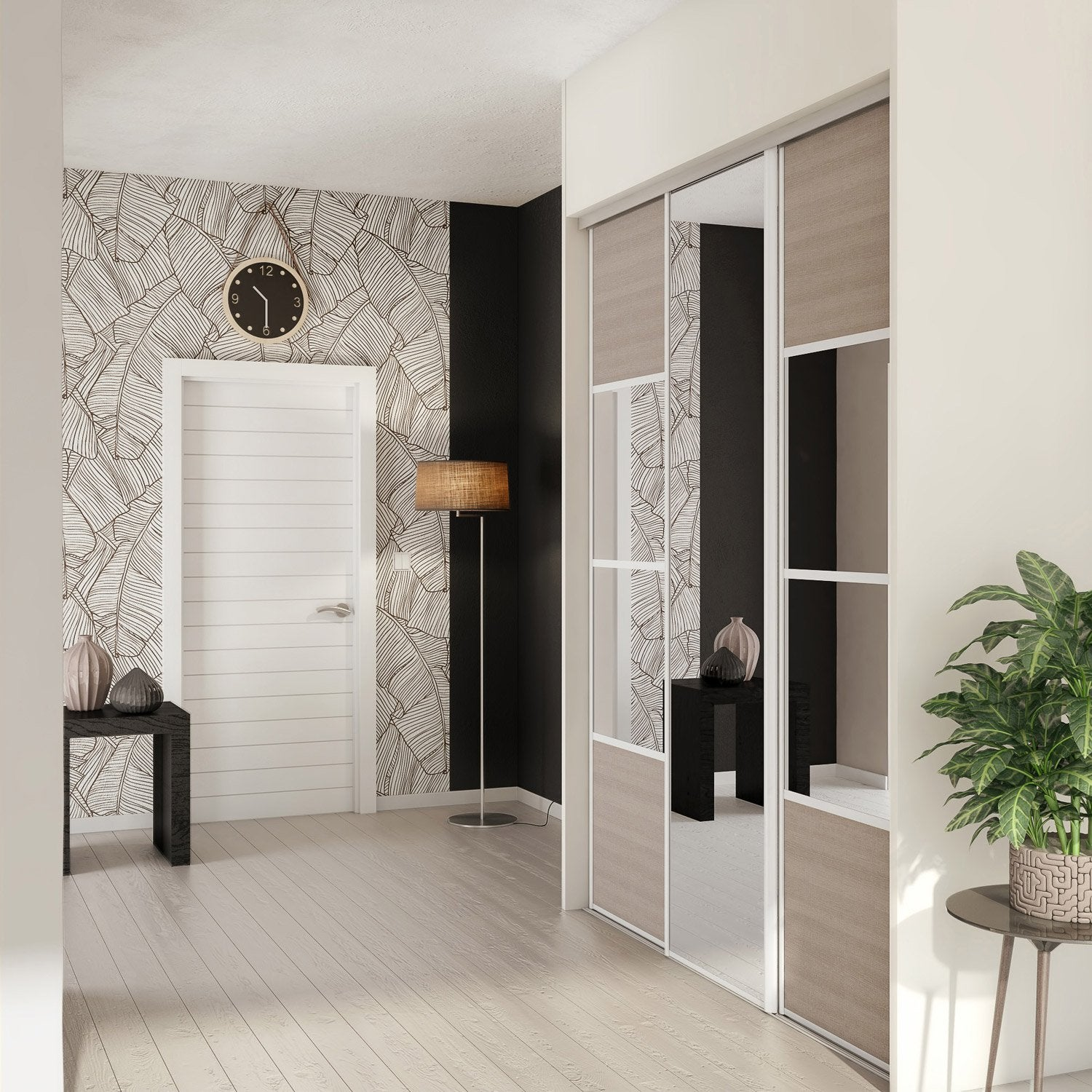 porte de placard coulissante magnolia miroir spaceo x cm leroy merlin. Black Bedroom Furniture Sets. Home Design Ideas