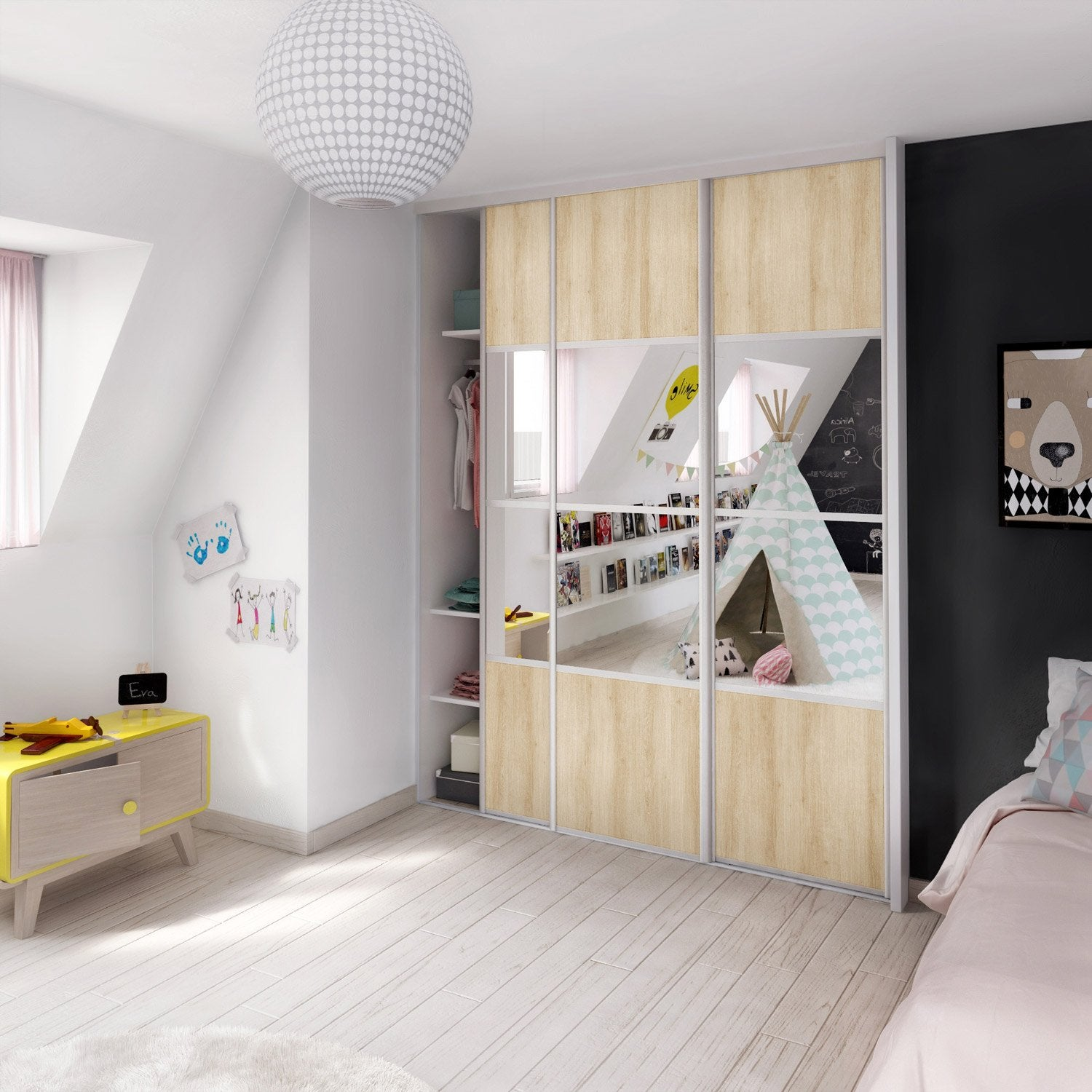 porte de placard coulissante ch ne structur miroir. Black Bedroom Furniture Sets. Home Design Ideas