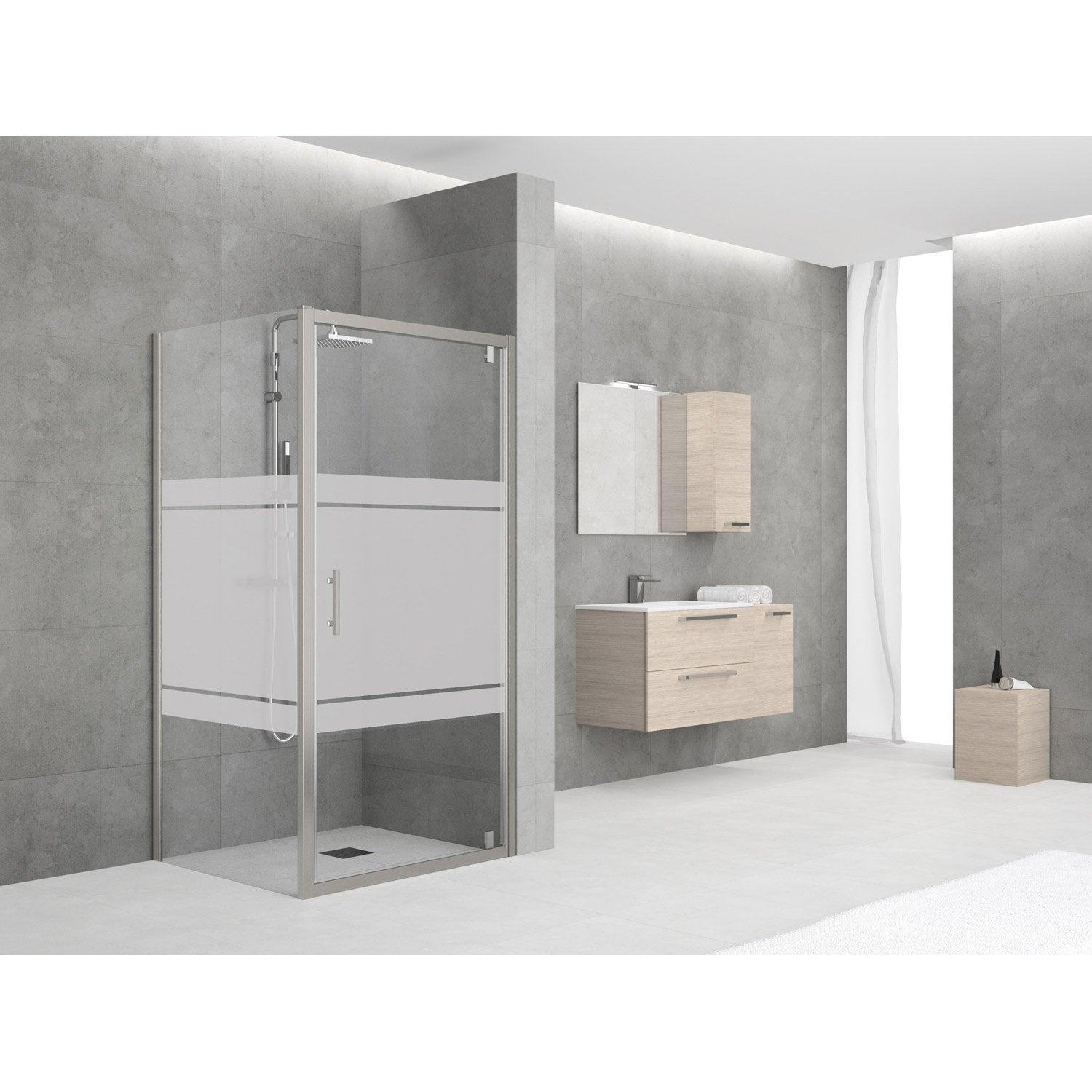porte de douche pivotante 72 78 cm profil chrom elyt. Black Bedroom Furniture Sets. Home Design Ideas