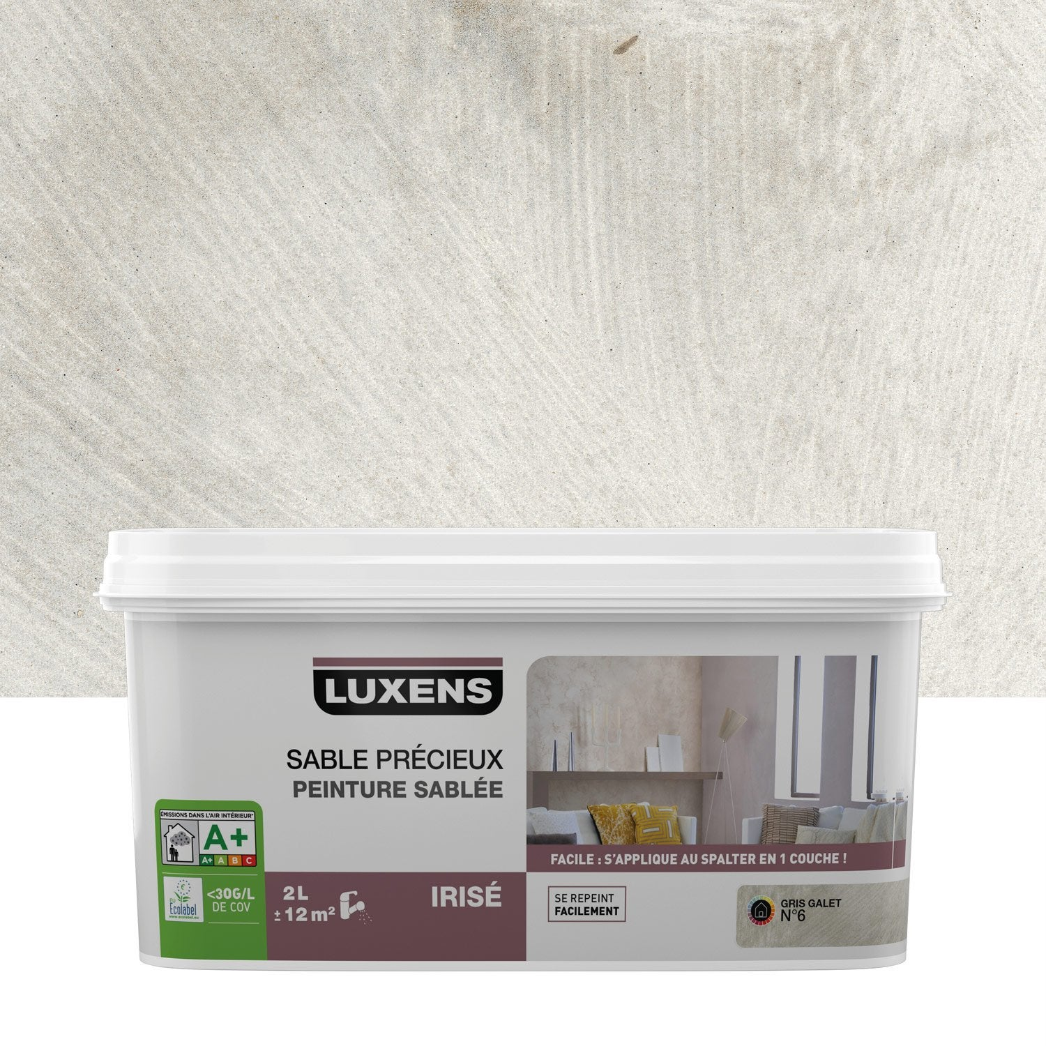 Peinture effet sable pr cieux luxens gris galet 6 2 l leroy merlin - Les decoratives leroy merlin ...