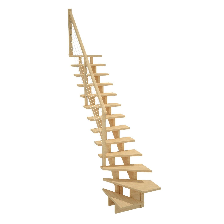 Escalier quart tournant bas droit allure c ble structure bois marche bois l - Escalier modulaire pas cher ...