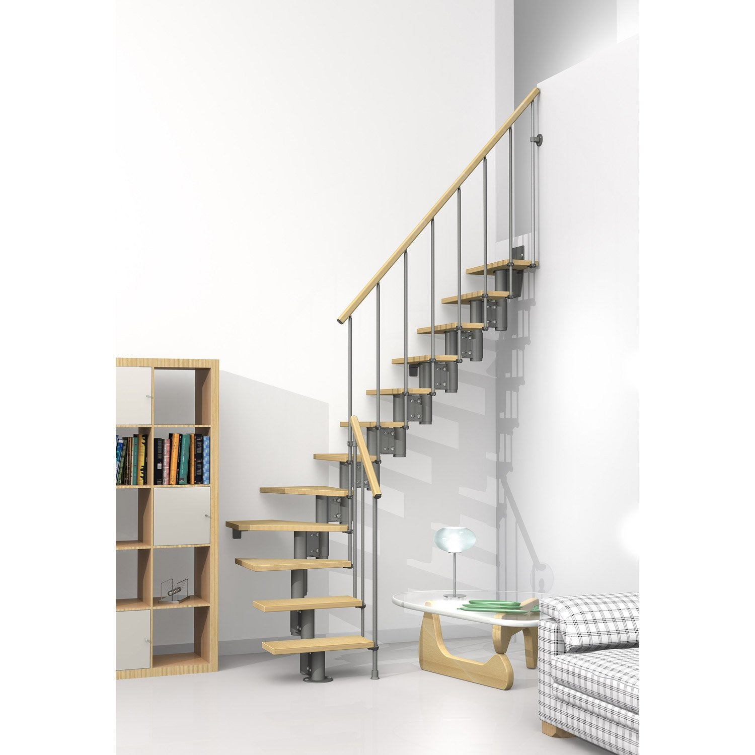 escalier modulaire strong structure m tal marche bois leroy merlin. Black Bedroom Furniture Sets. Home Design Ideas