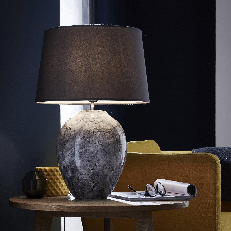 lampe vimeiro coton gris 60 w leroy merlin. Black Bedroom Furniture Sets. Home Design Ideas