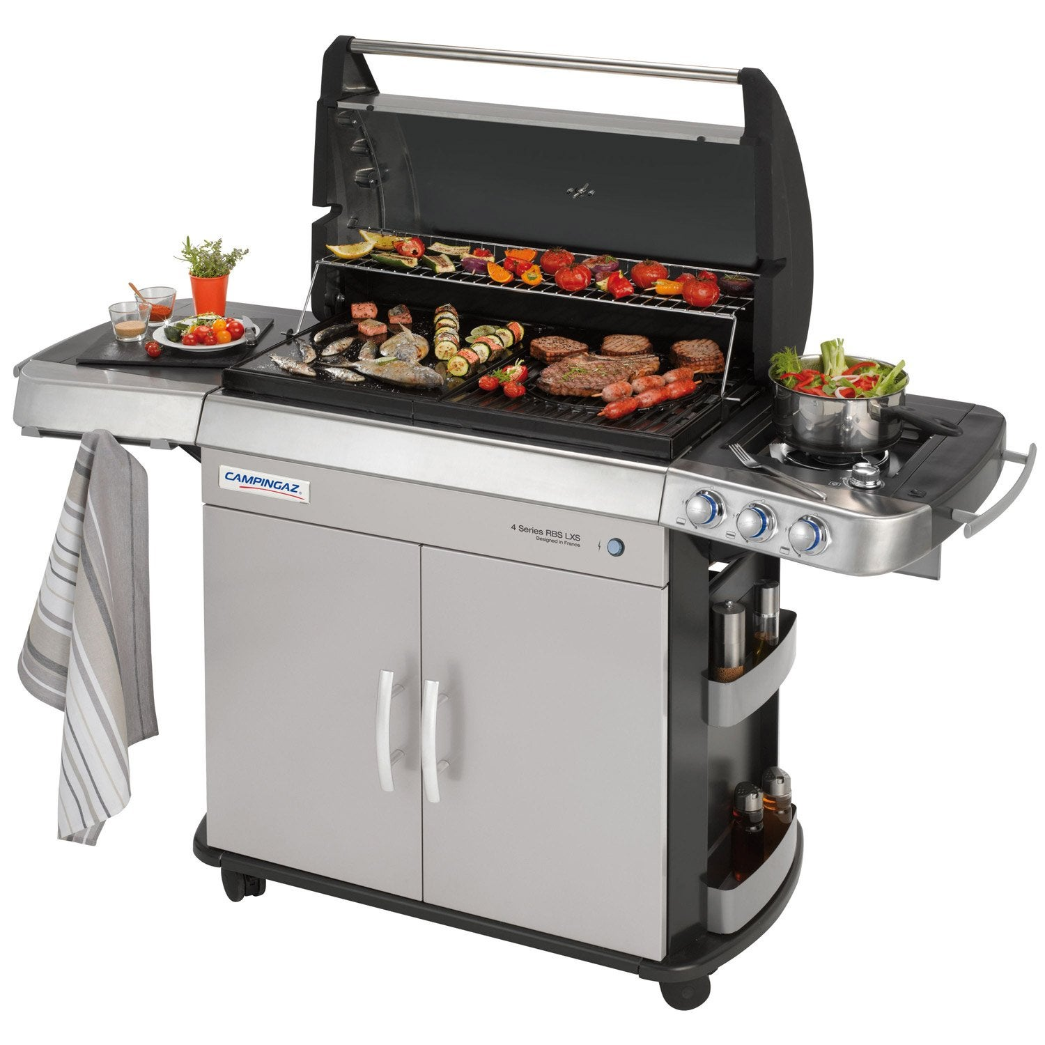 Barbecue au gaz campingaz 4 s ries rbs gris leroy merlin for Housse de barbecue campingaz