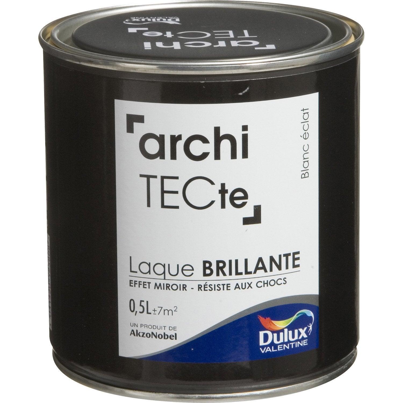 Peinture blanc clat dulux valentine architecte 0 5 l for Peinture laque brillante leroy merlin