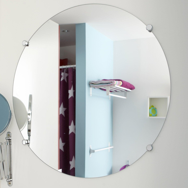 Miroir non lumineux d coup rond x cm poli leroy merlin - Miroir salle de bain leroy merlin ...