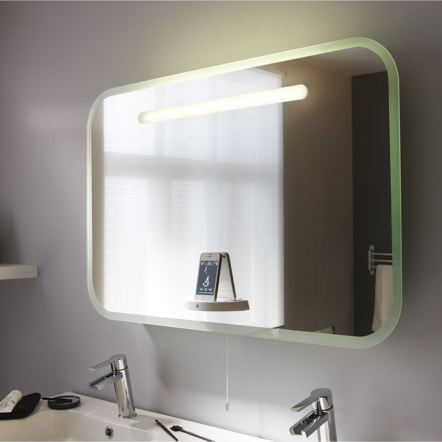 miroir lumineux eclairage int gr x cm music mirror leroy merlin. Black Bedroom Furniture Sets. Home Design Ideas