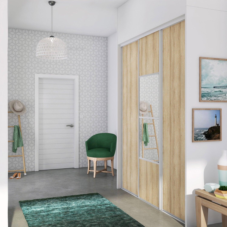 Porte de placard coulissante effet ch ne structur clair - Porte de chambre leroy merlin ...