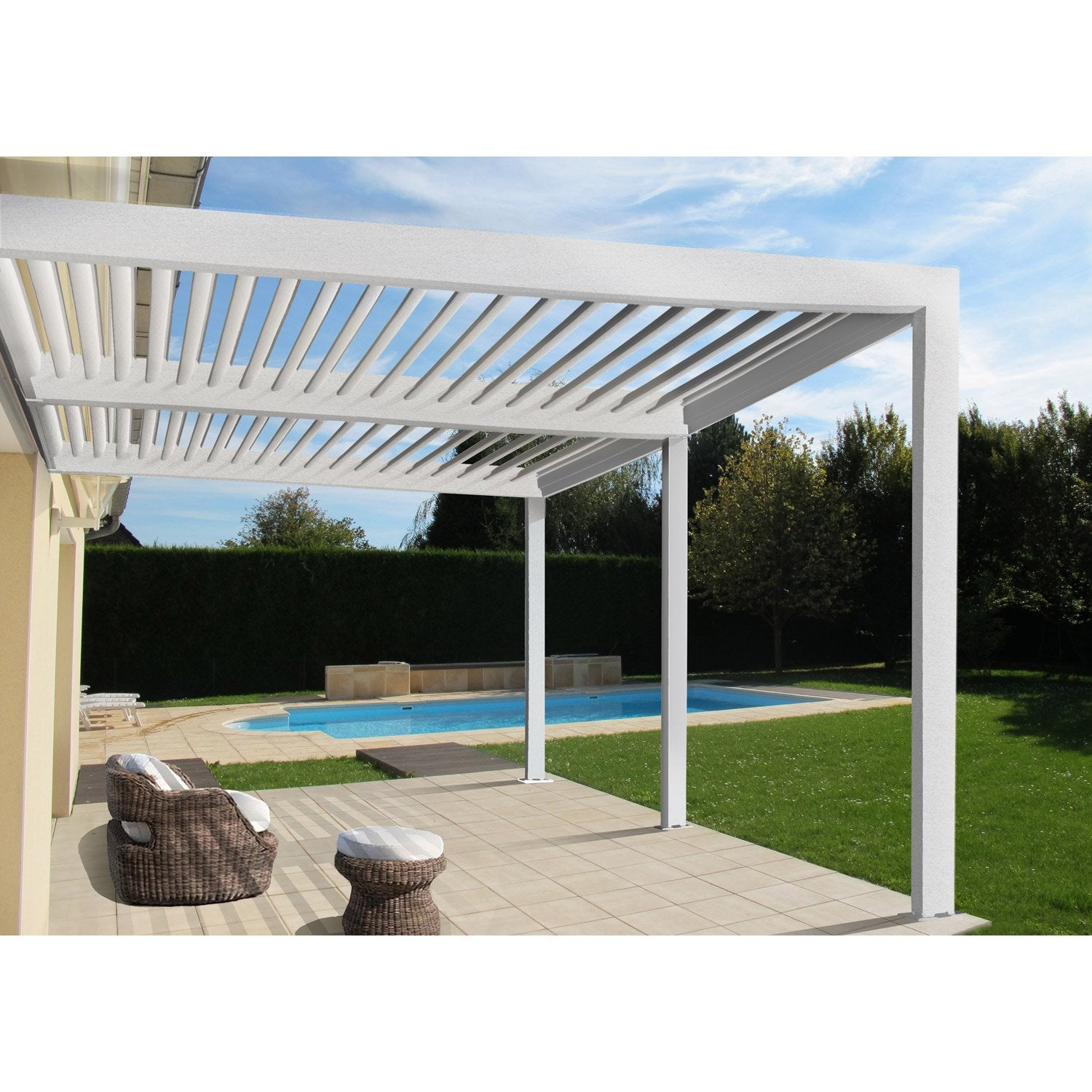pergola adoss e orient aluminium blanche 18 m leroy. Black Bedroom Furniture Sets. Home Design Ideas