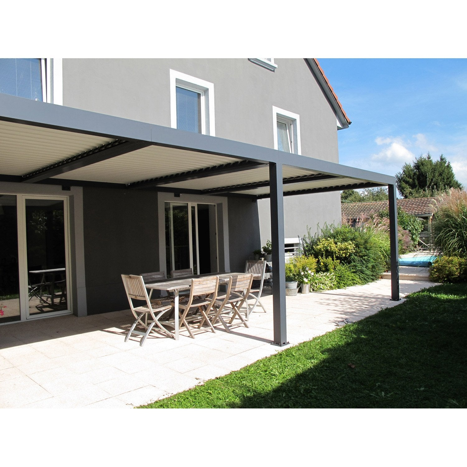 pergola murale aluminium gris anthracite 18 m leroy merlin. Black Bedroom Furniture Sets. Home Design Ideas