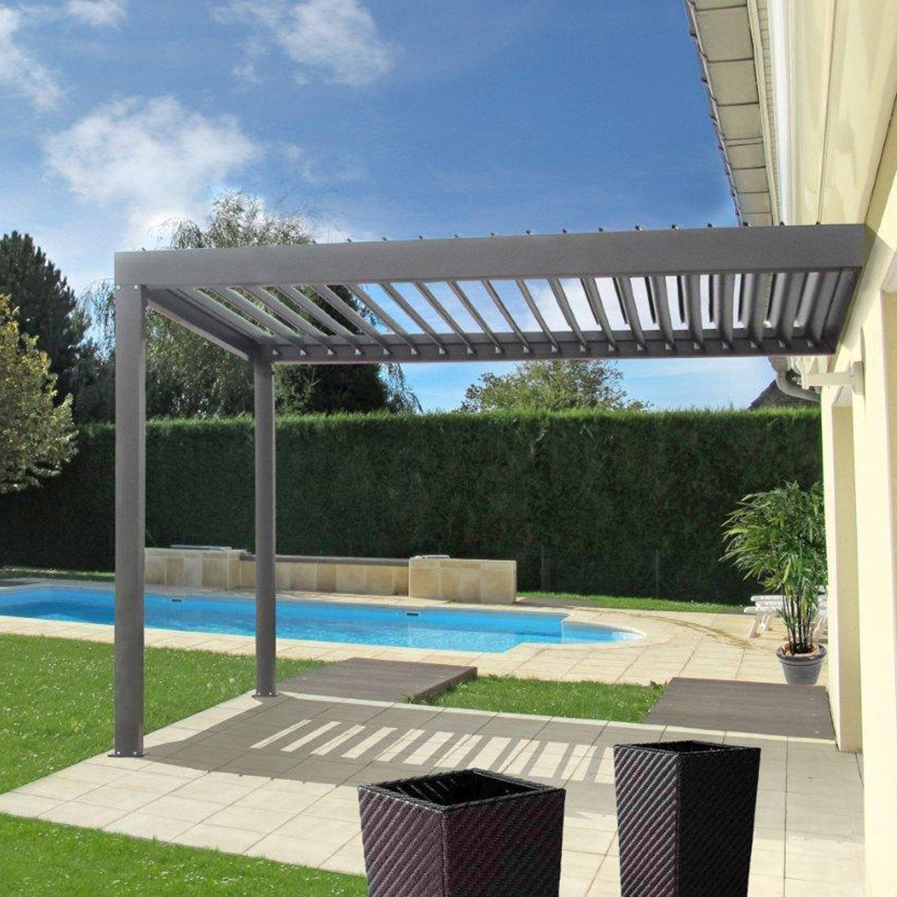 pergola murale aluminium gris anthracite 9 m leroy merlin. Black Bedroom Furniture Sets. Home Design Ideas