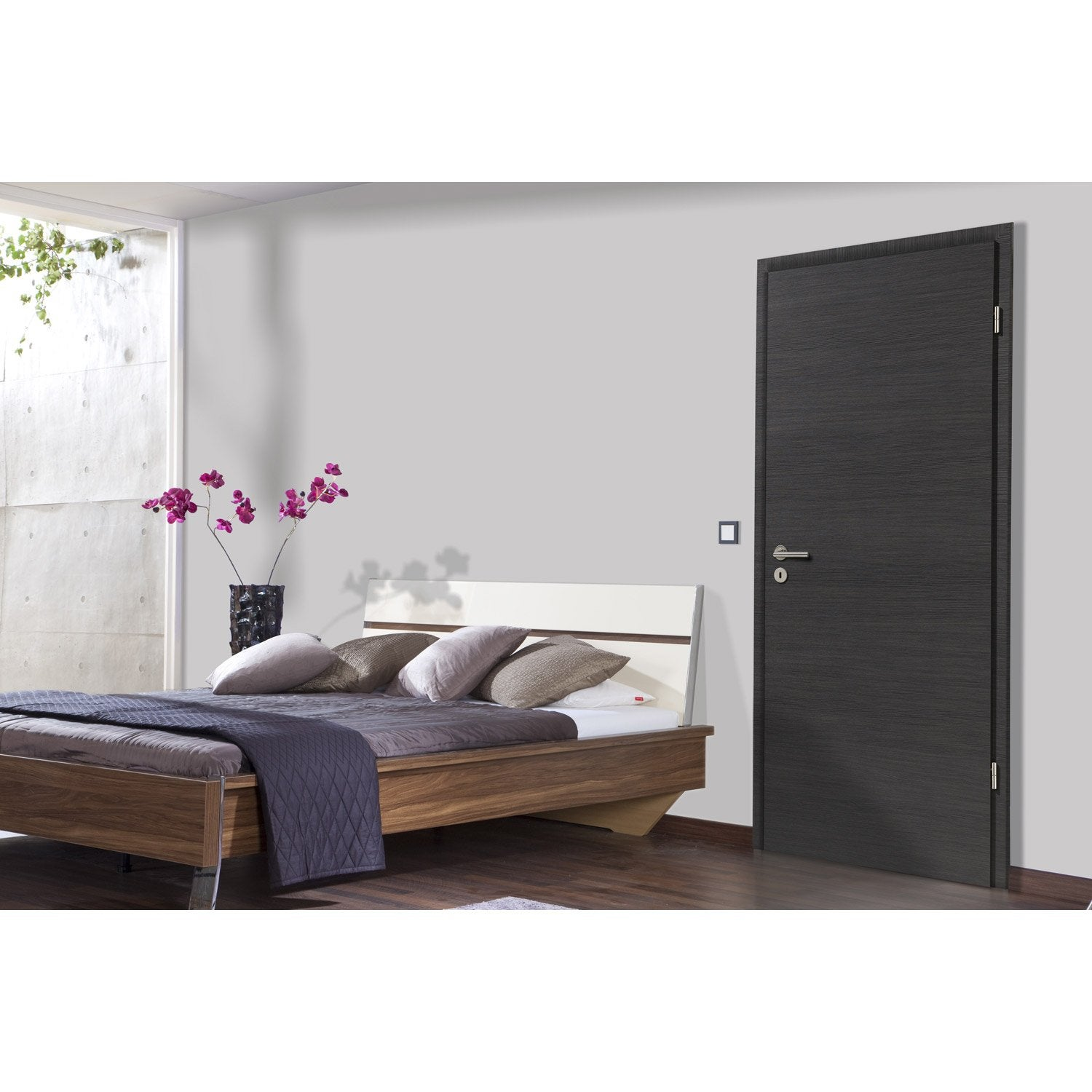 bloc porte m dium mdf rev tu d cor ch ne gris londres x cm leroy merlin. Black Bedroom Furniture Sets. Home Design Ideas