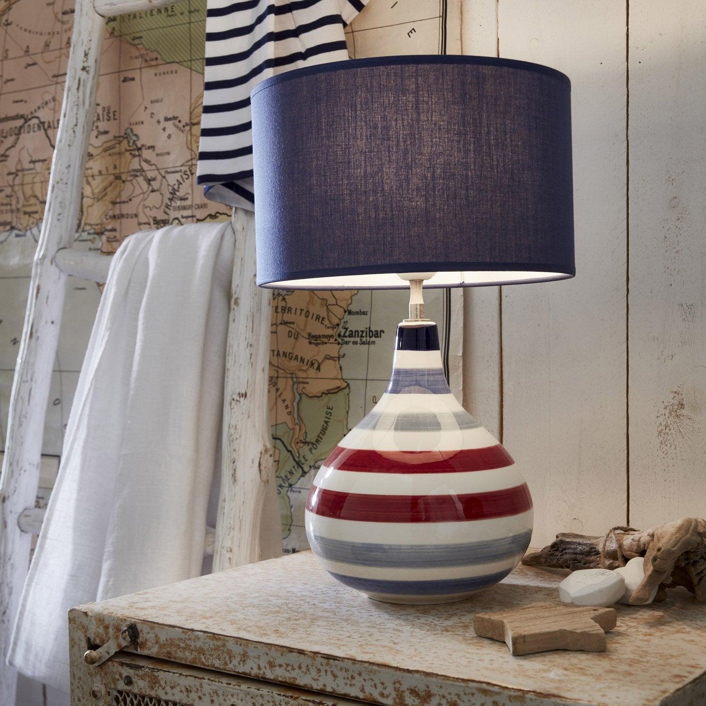 lampe baleal coton bleu 60 w leroy merlin. Black Bedroom Furniture Sets. Home Design Ideas