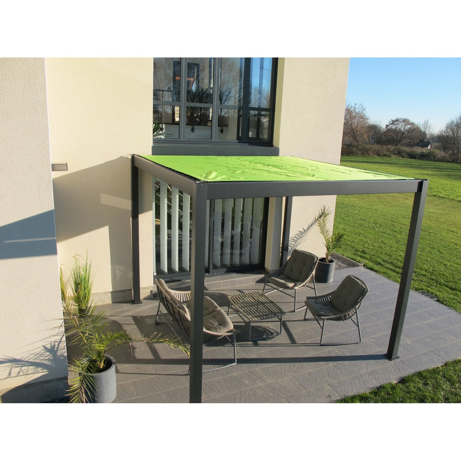pergola autoportante ombrie aluminium gris anthracite 9 m leroy merlin. Black Bedroom Furniture Sets. Home Design Ideas