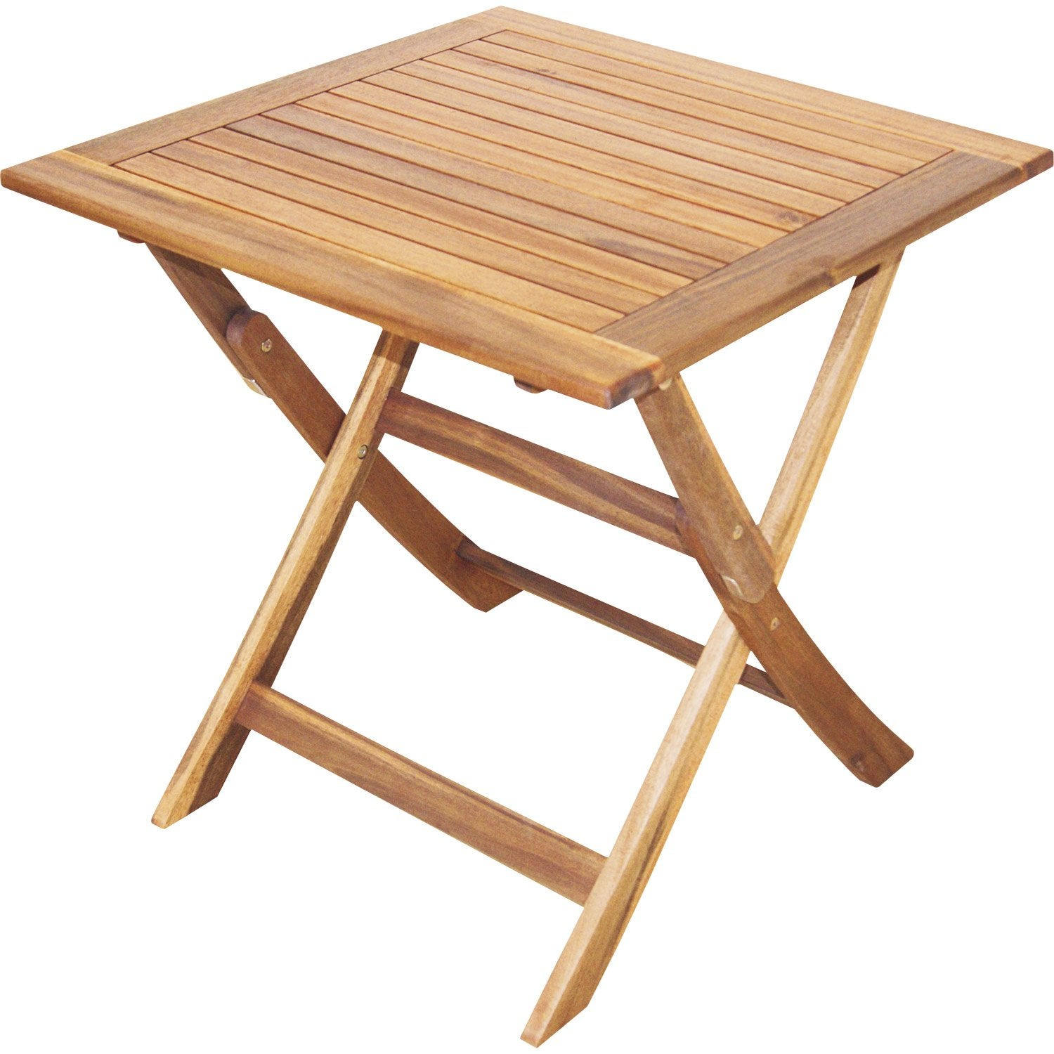 Table de jardin naterial porto carr e miel leroy merlin for Table carree 70x70 extensible
