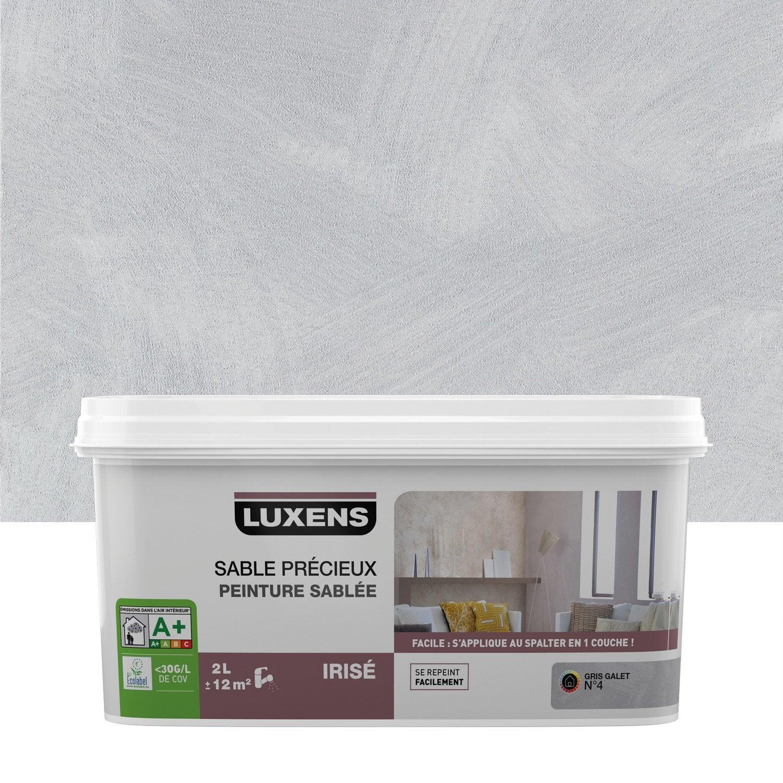 Peinture effet sable pr cieux luxens gris galet 4 2 l leroy merlin - Peinture a effet gris ...