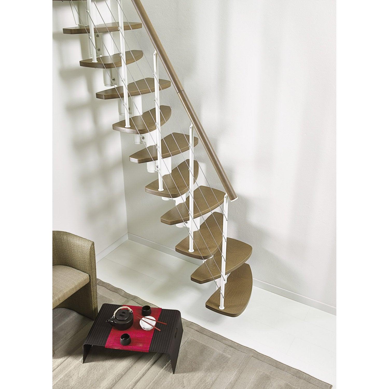 escalier droit zen structure m 233 tal marche bois leroy merlin