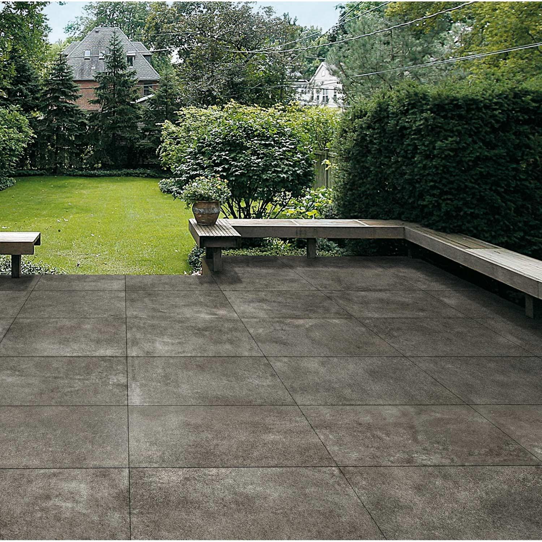Dalle gr s c rame pleine masse siena gris b ton fonc l for Dalle jardin gris