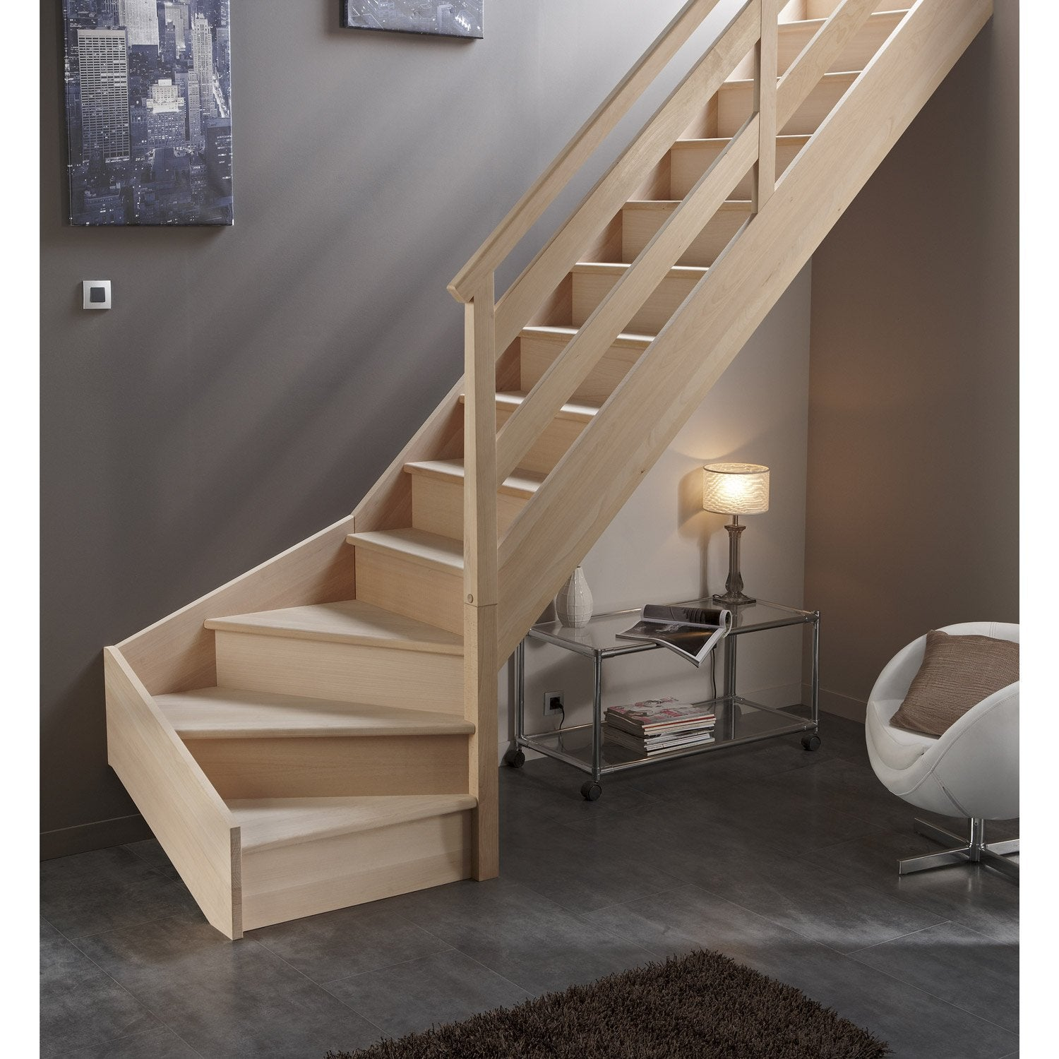 pose d 39 un escalier quart tournant en bois massif leroy. Black Bedroom Furniture Sets. Home Design Ideas