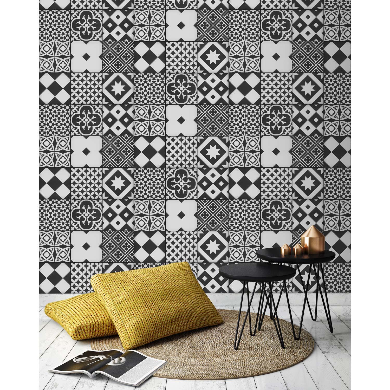 papier peint intiss carreaux de ciment gatsby noir et. Black Bedroom Furniture Sets. Home Design Ideas