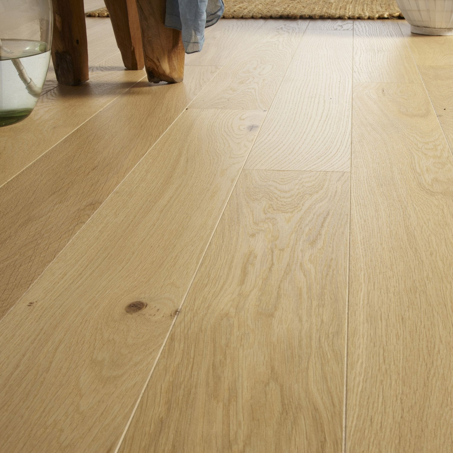 Parquet contrecoll ch ne naturel huil l chene de france for Salon parquet