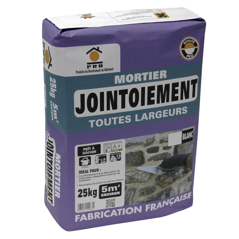 mortier de jointoiement blanc prb 25 kg leroy merlin