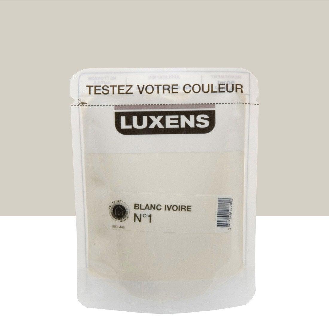 Testeur peinture blanc ivoire 1 luxens couleurs - Peinture luxens blanc satin ...