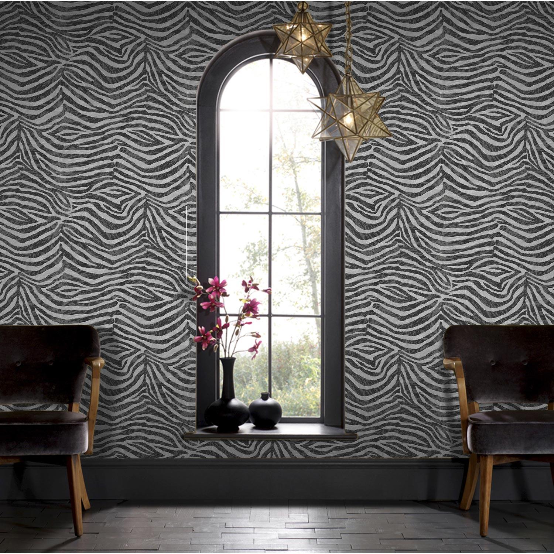 Papier peint intiss z bre noir leroy merlin - Papier peint salle a manger 4 murs ...
