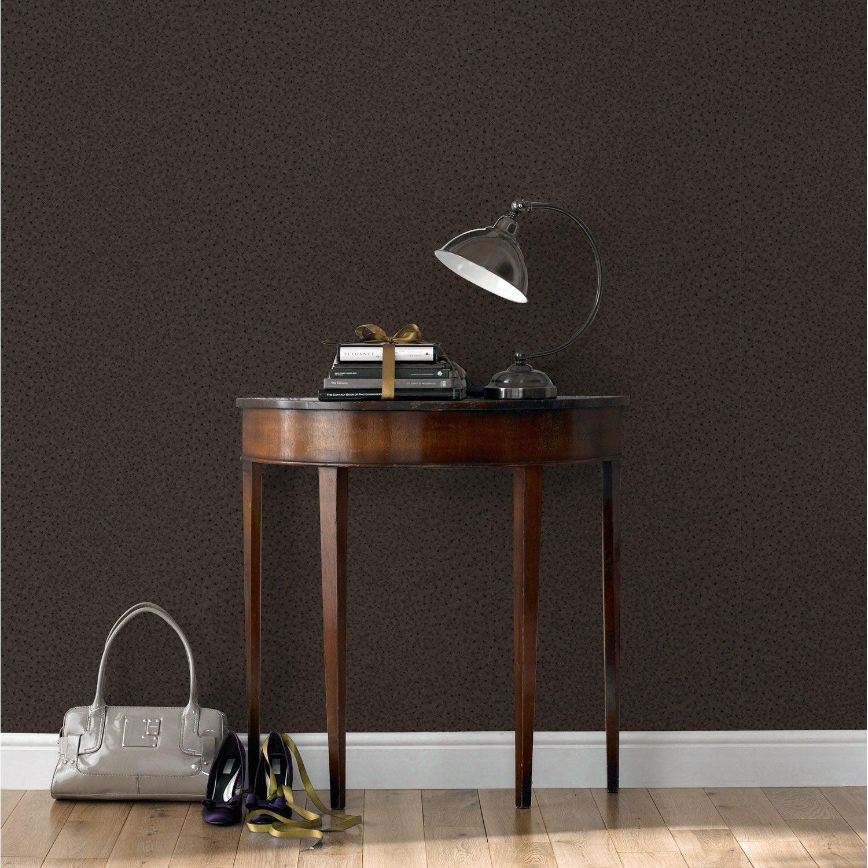 Papier peint vinyle sur intiss autruche marron leroy for Decoller papier peint vinyl