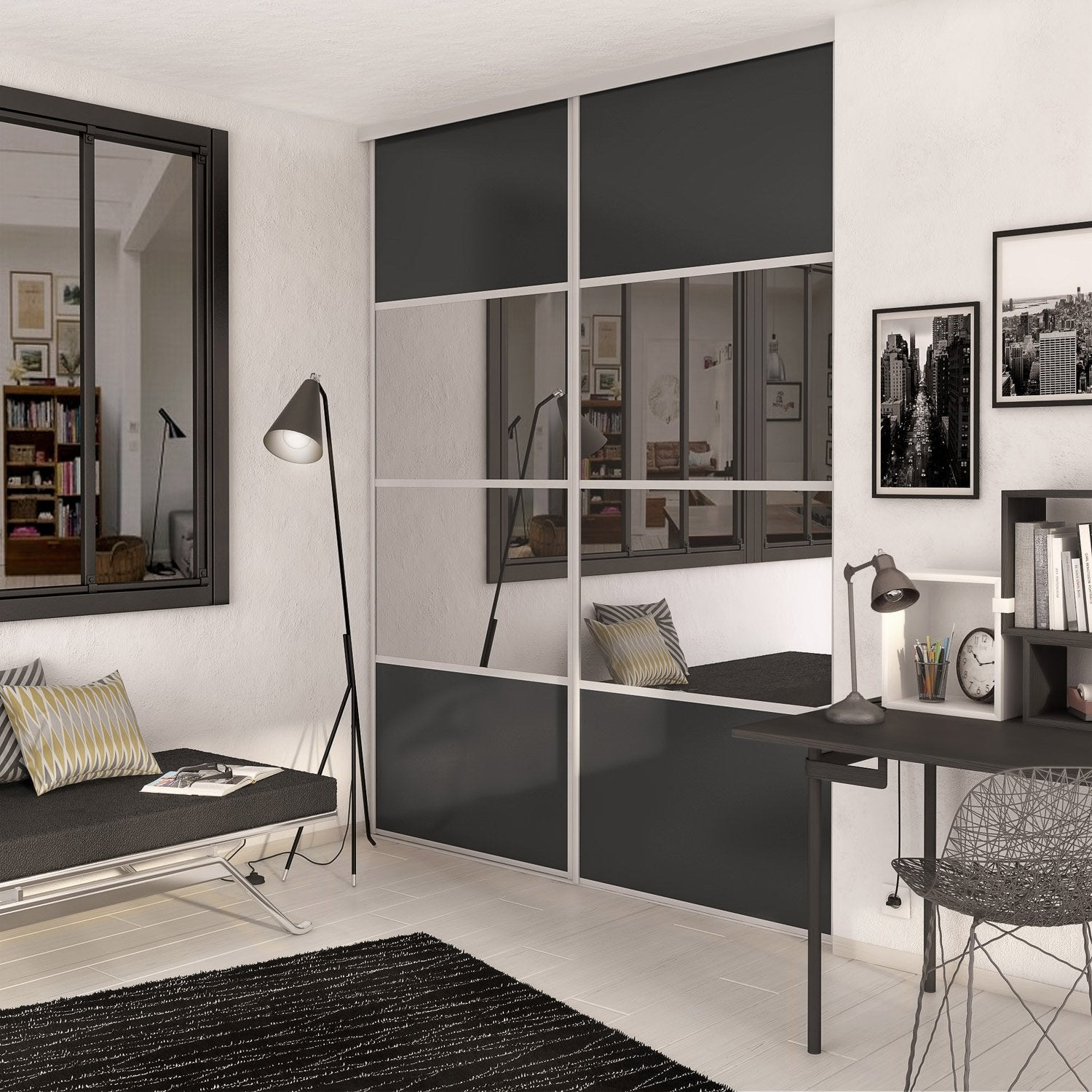 porte de placard coulissante gris graphite miroir spaceo x cm leroy merlin. Black Bedroom Furniture Sets. Home Design Ideas
