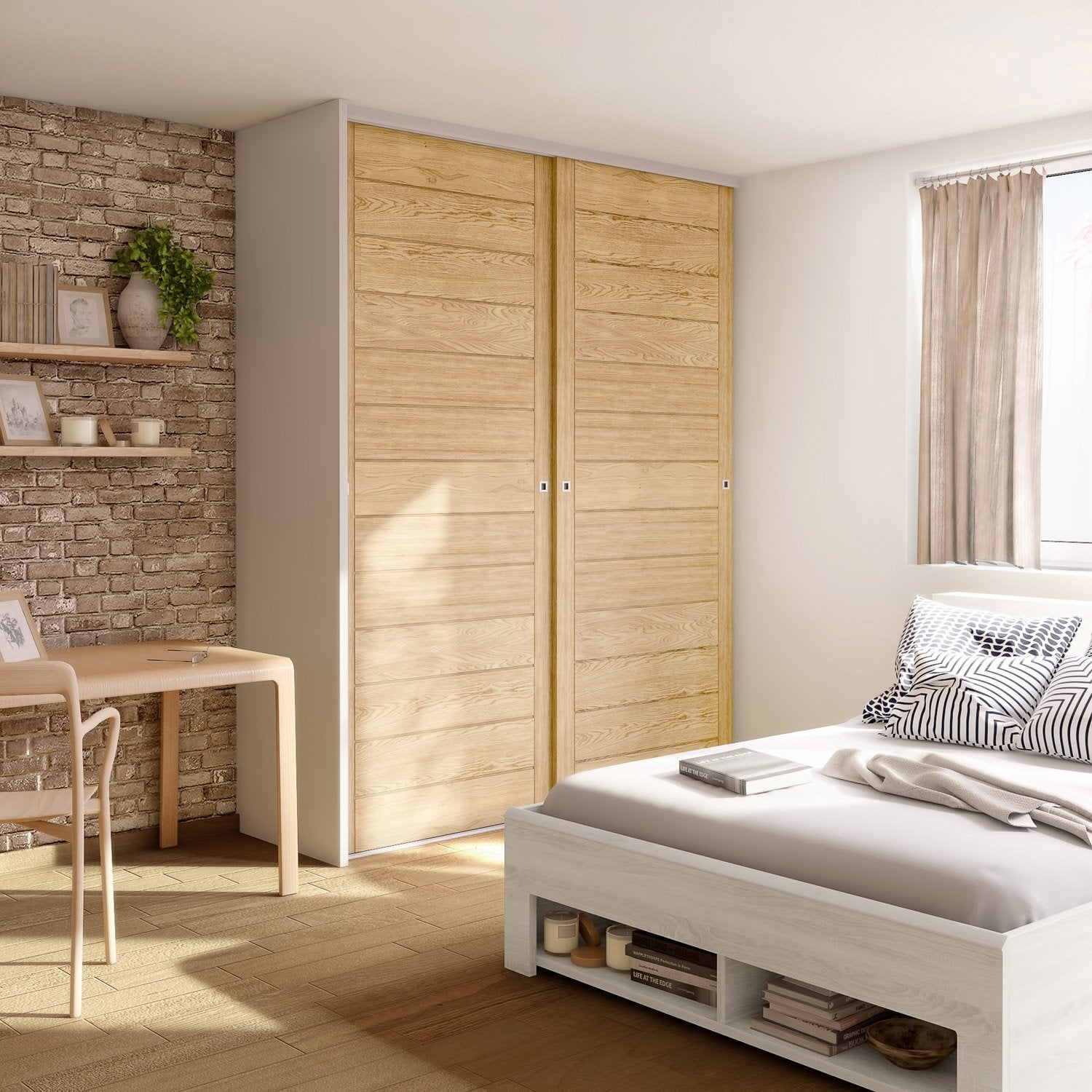 porte de placard coulissante effet ch ne naturel spaceo l. Black Bedroom Furniture Sets. Home Design Ideas