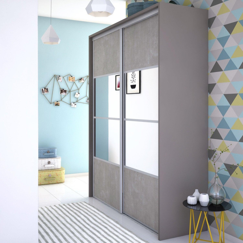 Porte de placard coulissante effet b ton miroir spaceo l for Miroir de porte a suspendre