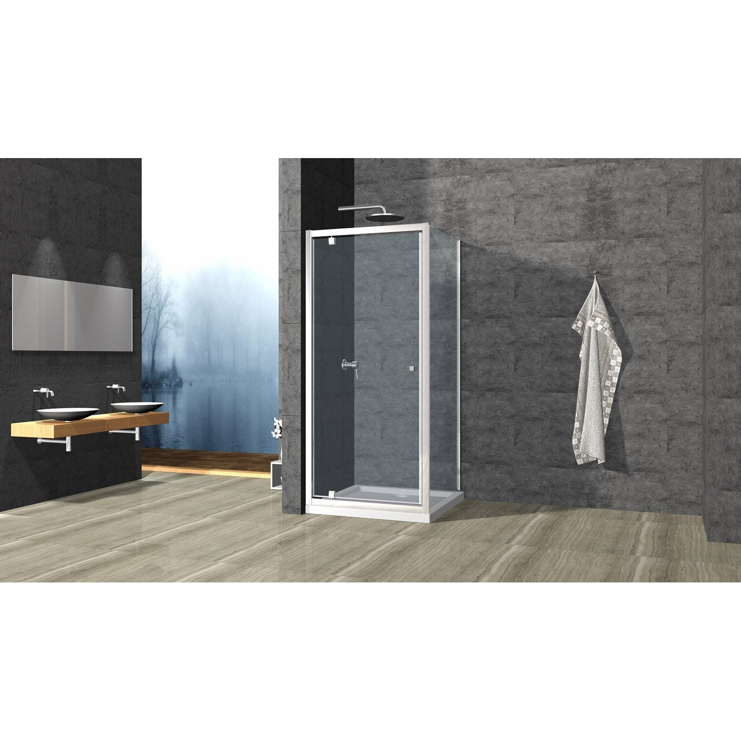 porte de douche pivotante cm transparent dado leroy merlin. Black Bedroom Furniture Sets. Home Design Ideas