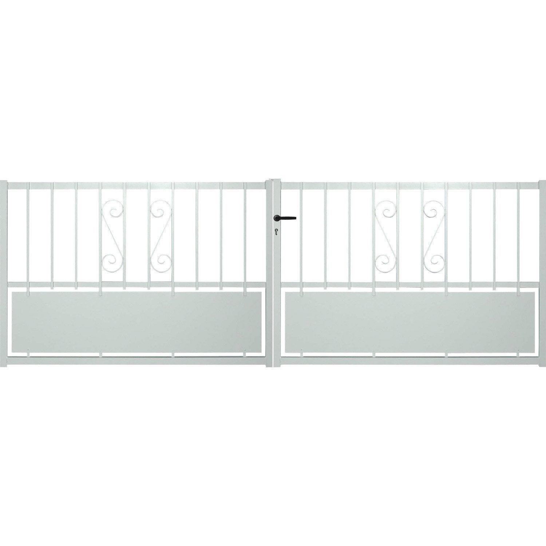 Portail battant aluminium rhodes blanc x cm for Portail hauteur 2m50