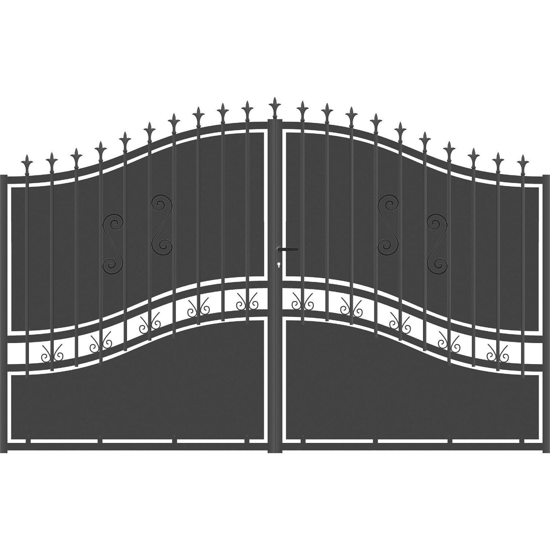 Portail battant aluminium olympia festonne gris anthracite for Portillon en fer pas cher