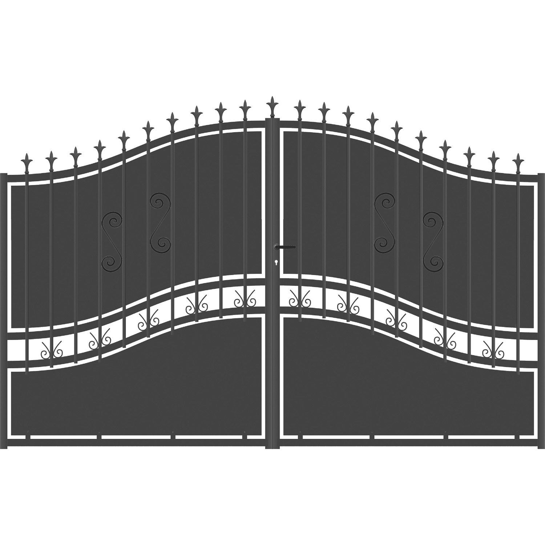 Portail battant aluminium olympia festonne gris anthracite for Portillon en aluminium pas cher
