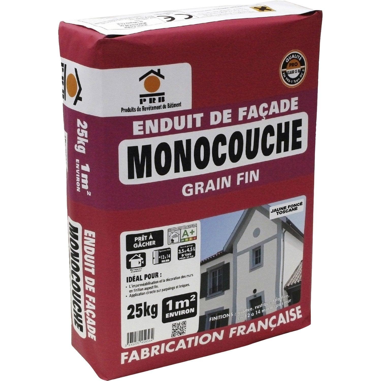 Enduit monocouche jaune prb 25 kg leroy merlin for Enduit beton exterieur