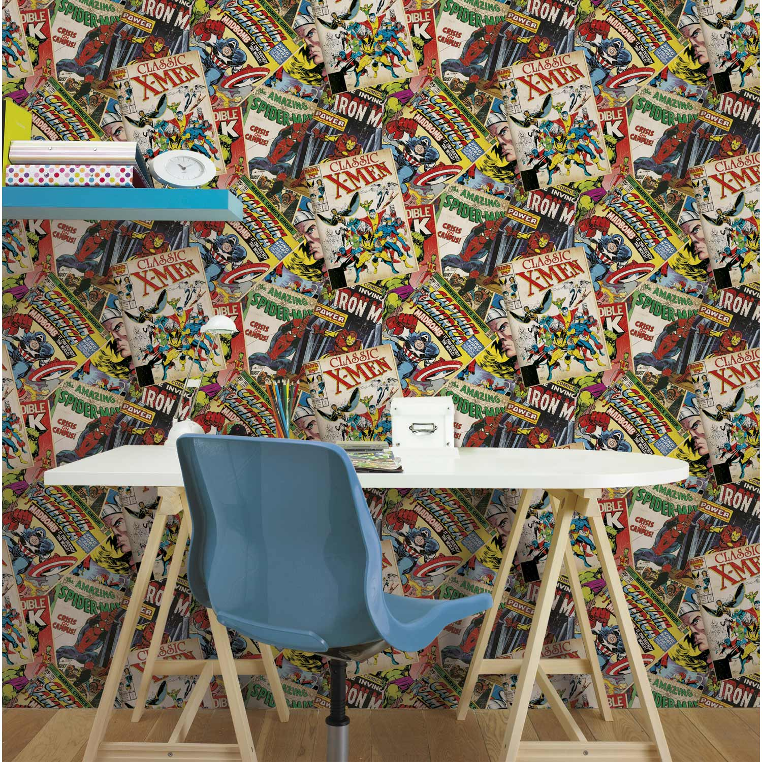 papier peint papier marvel story multicouleur leroy merlin. Black Bedroom Furniture Sets. Home Design Ideas