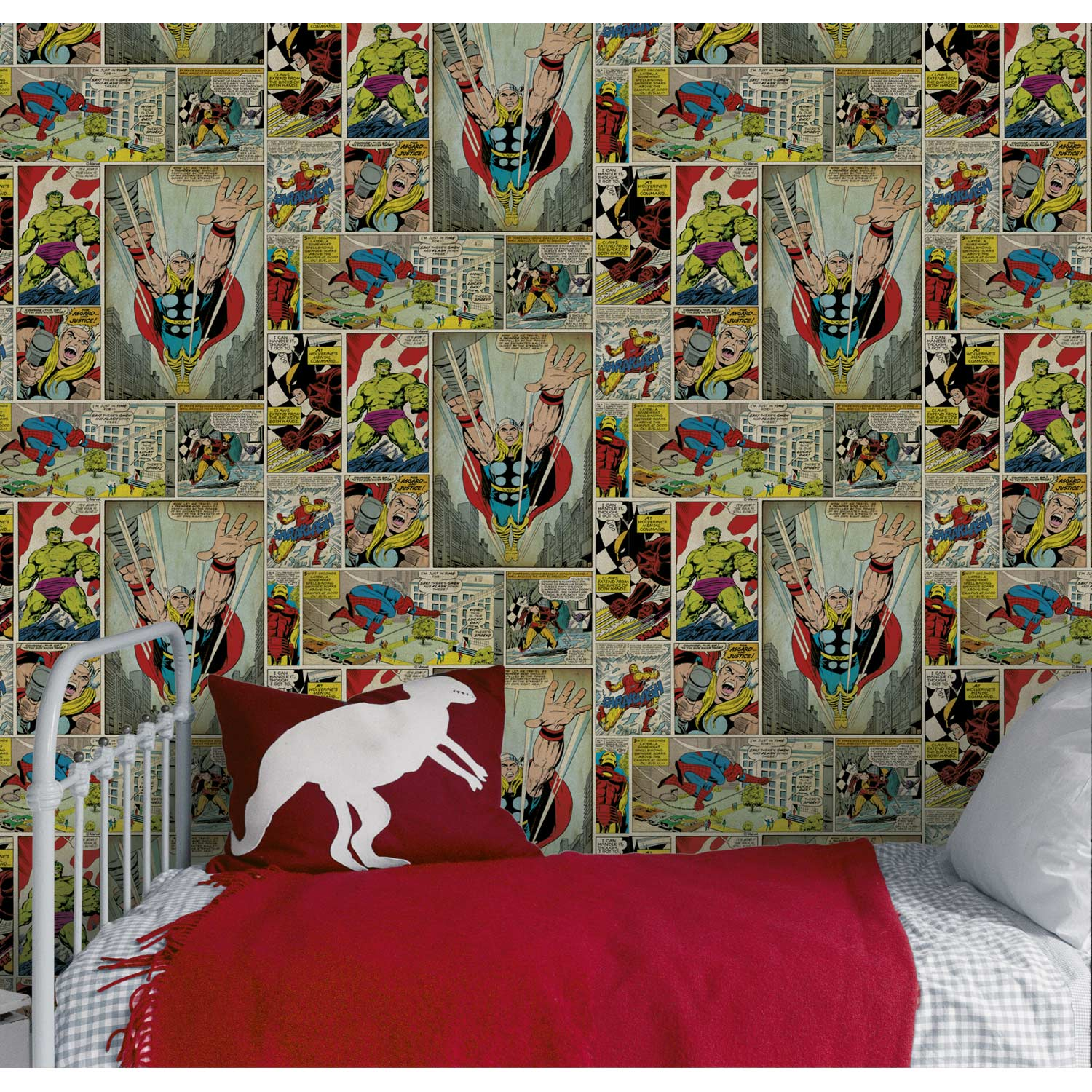 Papier peint papier marvel bd multicouleur leroy merlin for Wallpaper home cartoon