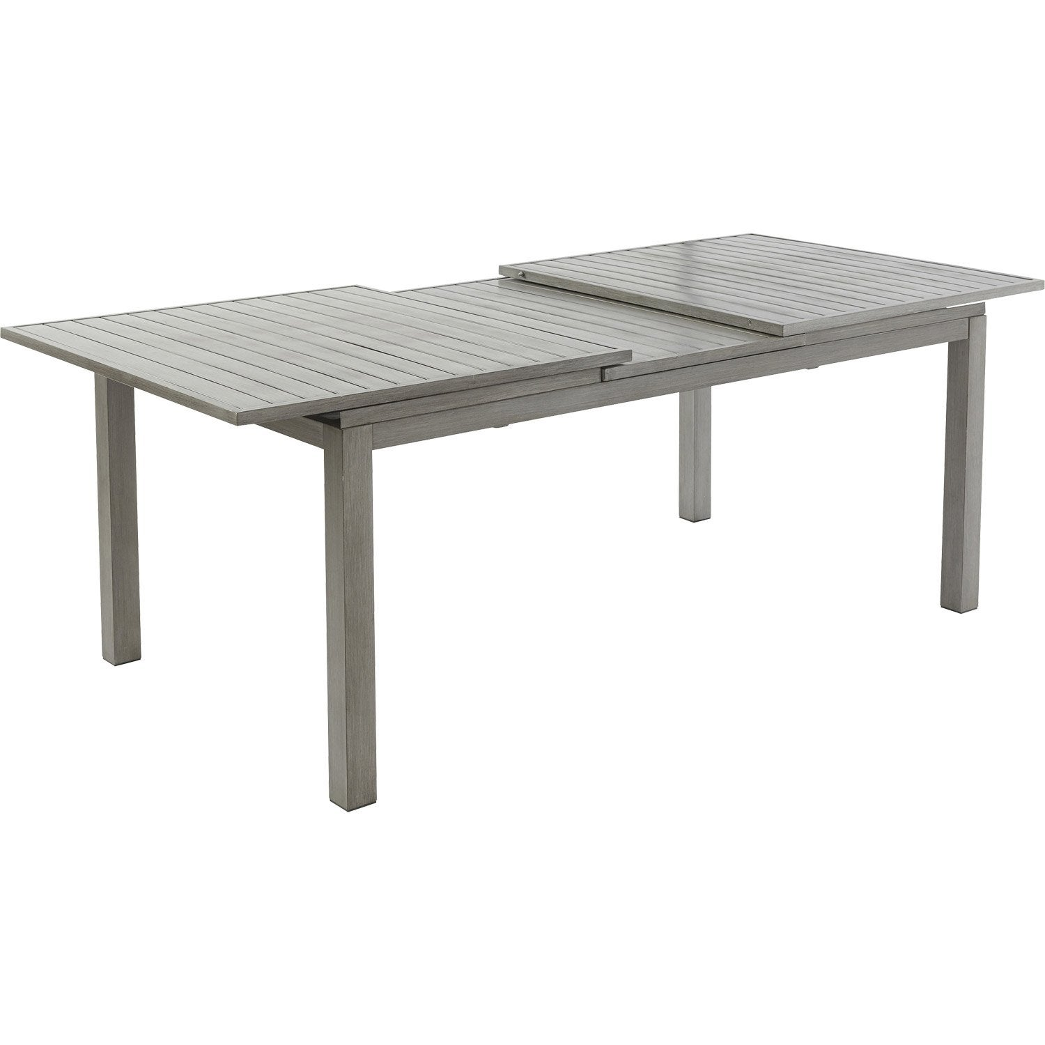 Table de jardin avec extension rectangulaire aluwood for Banco jardin leroy merlin