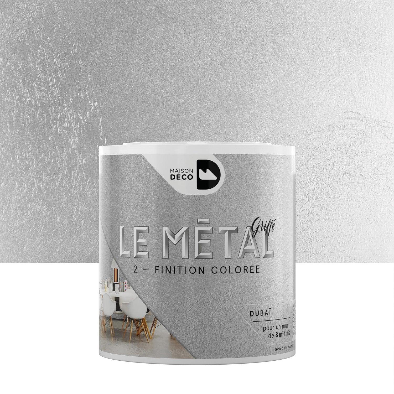 Peinture effet le m tal griff maison deco duba 0 5 l leroy merlin for Peinture murale a effet