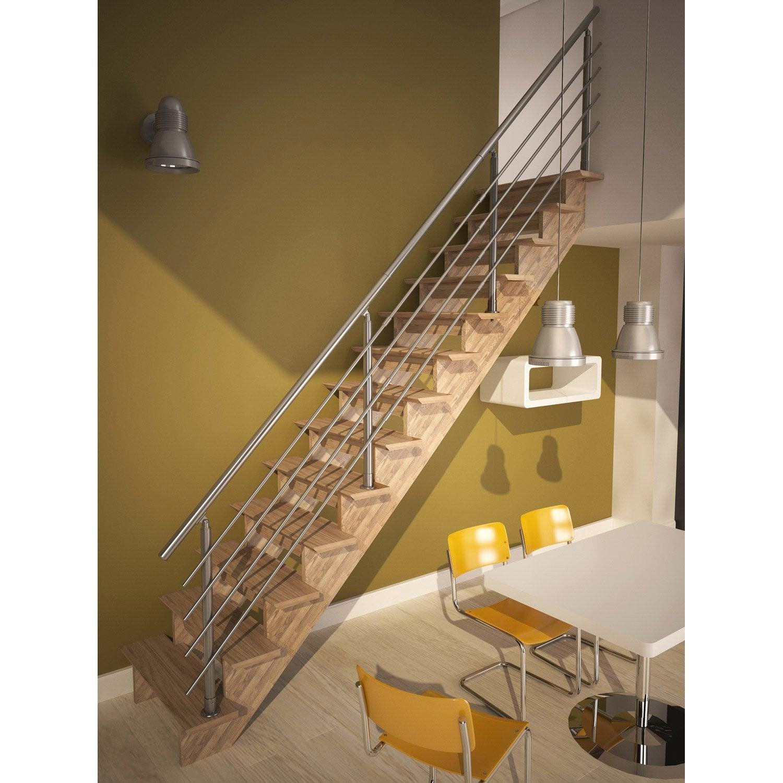 Escalier droit auvergne structure bois marche bois leroy - Marche pied bois leroy merlin ...