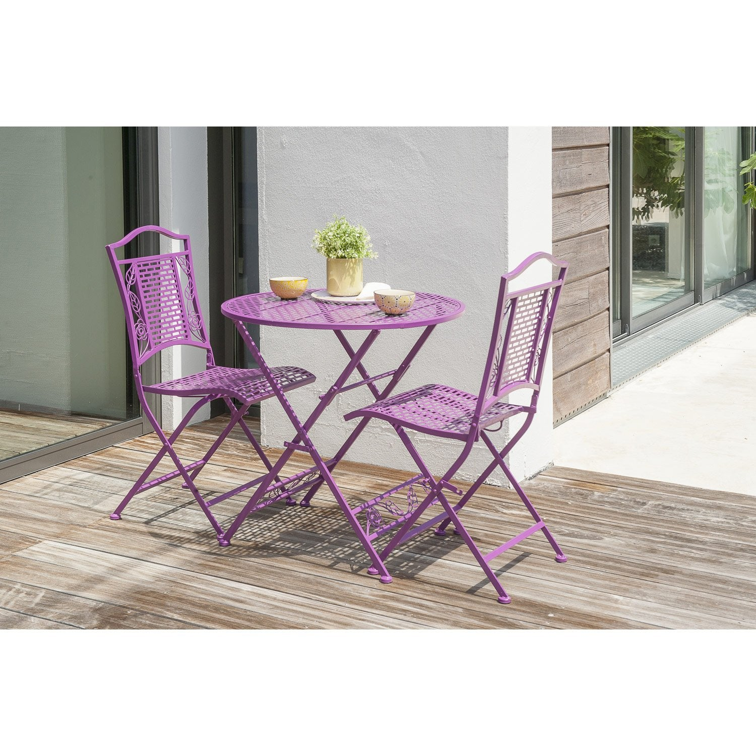 salon de jardin flora acier lilas 1 table gueridon 2 chaises leroy merlin. Black Bedroom Furniture Sets. Home Design Ideas