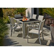 Table de jardin Bilbao rectangulaire gris 8 personnes