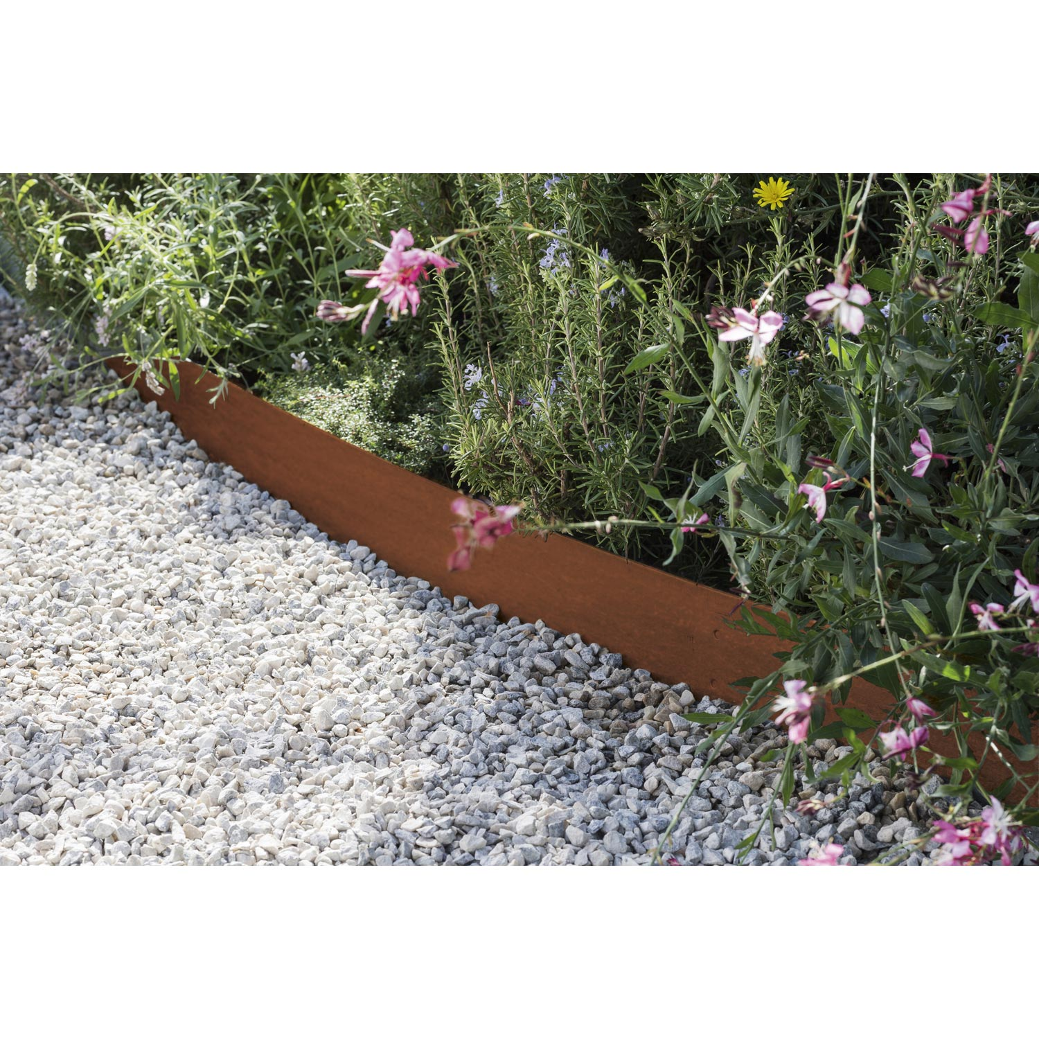 Bordure planter aspect rouille acier galvanis gris h for Bordure jardin acier corten
